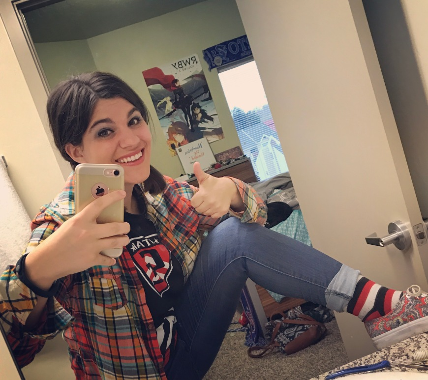 FBI staffer and artist Marissa Hondros showing off her matching socks
