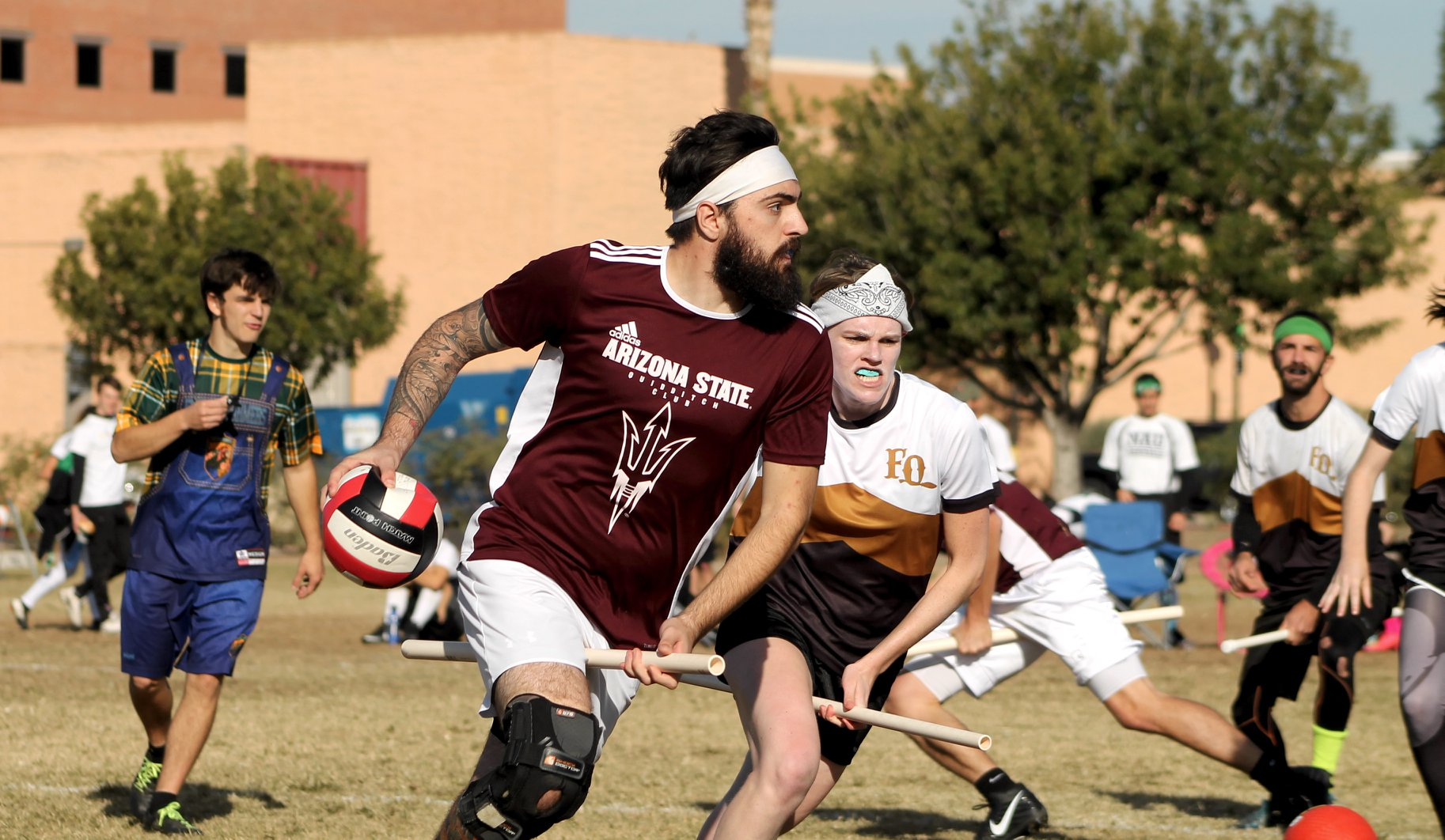 ASU quidditch chaser Angelo Papakonstantinou. Photo credit: Chris Rothery Photography.