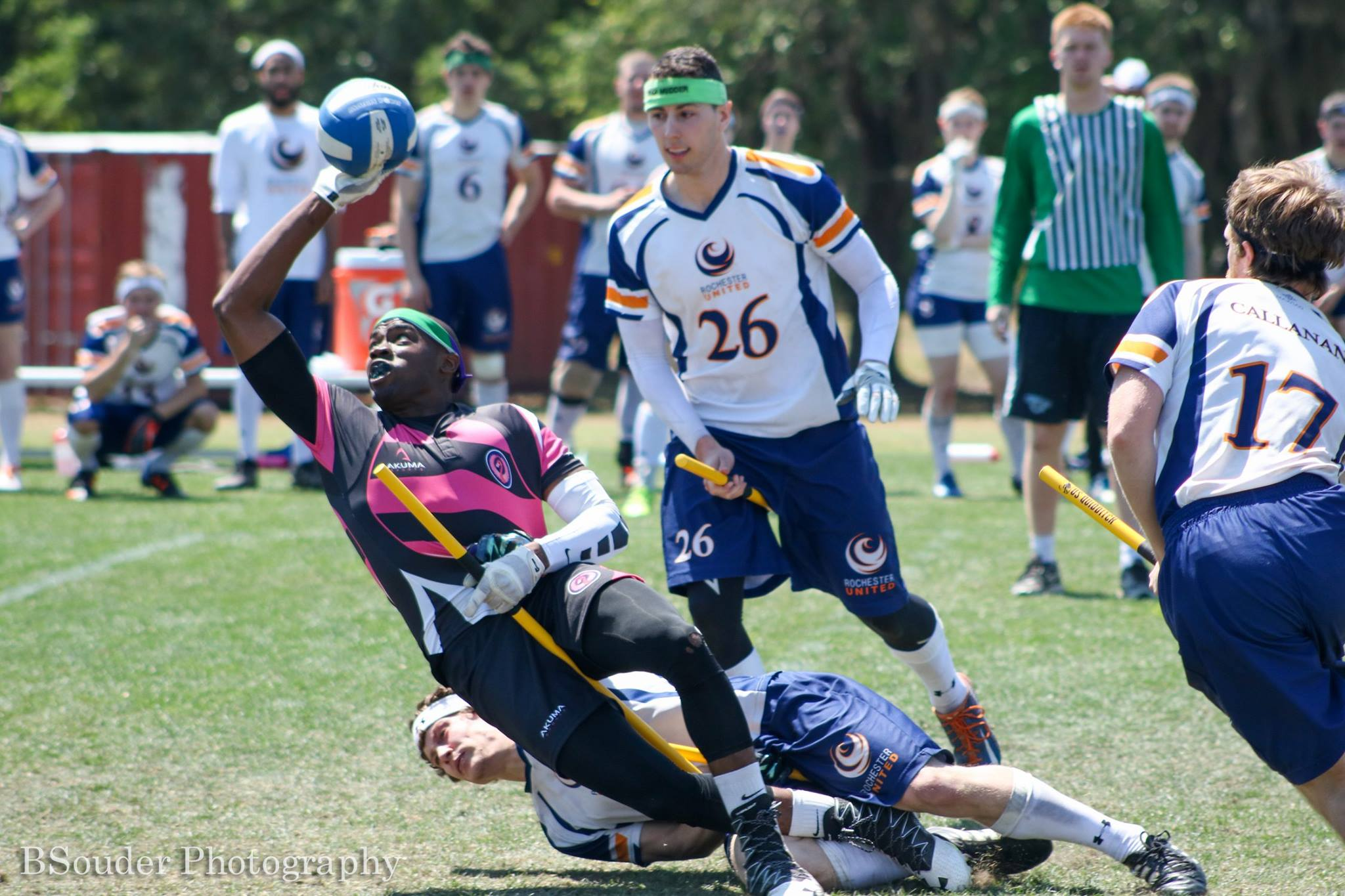 Quincy Hildreth shoots mid-tackle against Rochester United